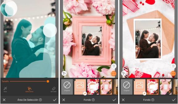 Uma montagem com três imagens una pareja, un hombre rubio y una chica asiática, mirándose en una imagen iluminada con un cielo de fondo. Usando el tema del Día de San Valentín.