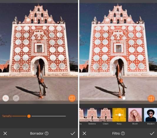 antes y después de usar filtros