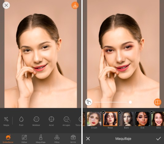 Primer plano da cara de una mujer usando maquillajes