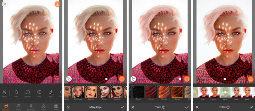 edición de foto de una mujer rubia con cabello corto. En la edición se le agrega color a su cabello
