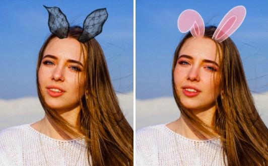 mujer joven con maquillaje de conejito y orejas rosas