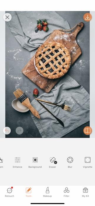 blueberry pie on cutting board