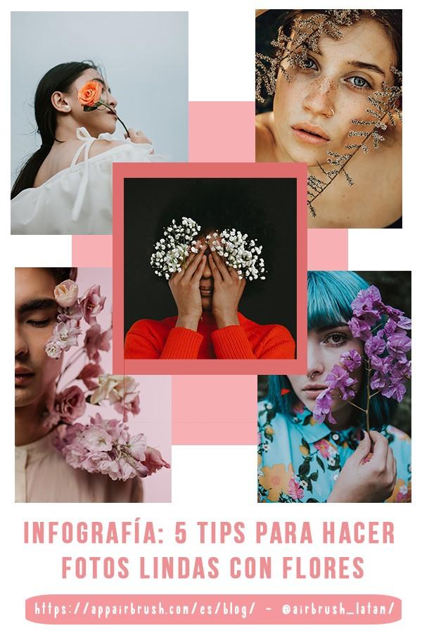 infografía de retratos con flores