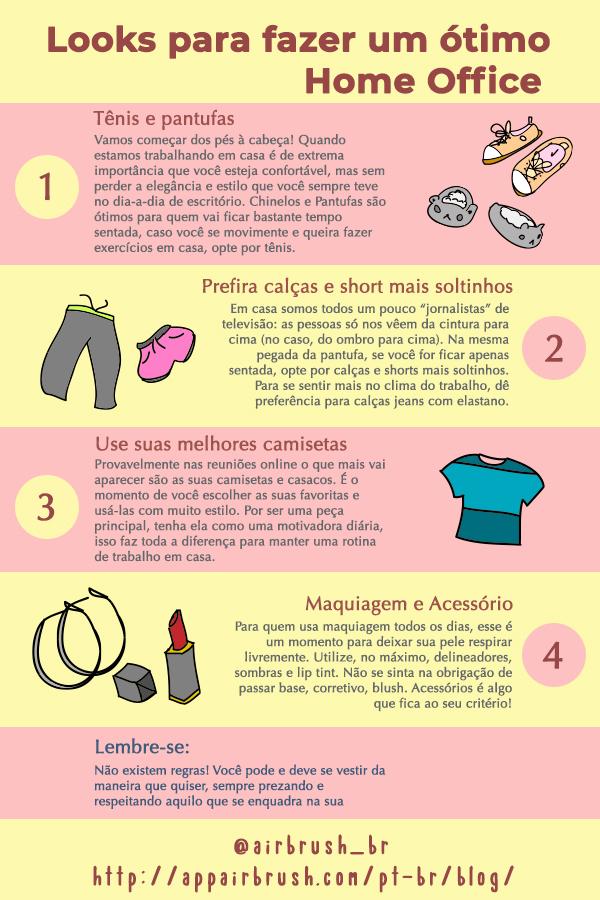 Infográfico com 3 passos com dicas para looks incríveis para trabalhar em casa.