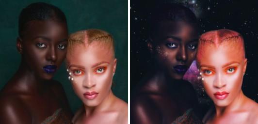 dos mujeres maquilladas de manera exótica