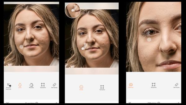 Montagem com 3 fotos com a mesma mulher com marcas de espinha no rosto mostrando as ferramentas do AirBrush para retirar essas marcas.