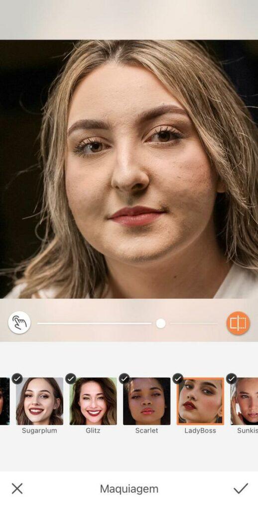 Mulher com marcas de espinha no rosto mostrando as ferramentas do AirBrush para retirar essar marcas.