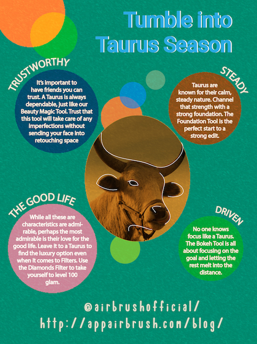 Infographic with information the Taurus zodiac sign