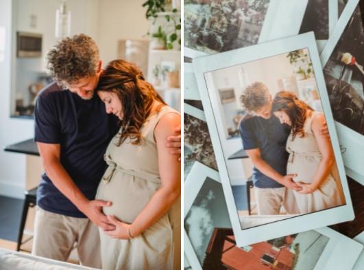 foto de embarazada en casa