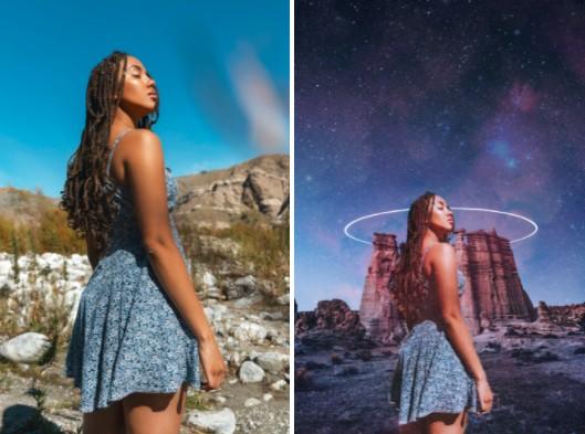 Mujer negra en una foto temática de Star Wars editar