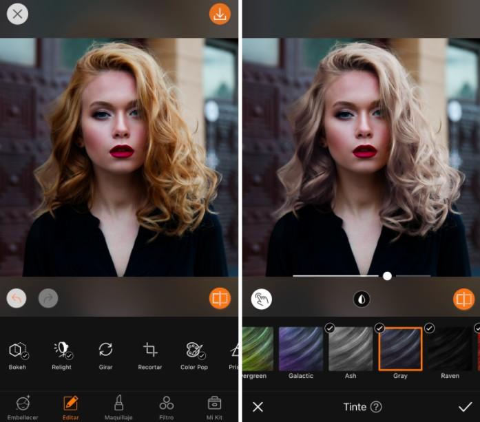Un antes y un después de una mujer rubia de cabello ondulado, maquillaje y lápiz labial rojo usando la herramienta AirBrush Hair.