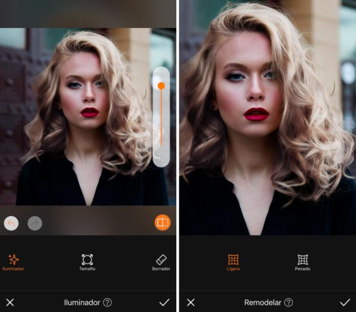 Un antes y un después de una mujer rubia con cabello ondulado, maquillaje y lápiz labial rojo usando la herramienta Reshape de AirBrush.