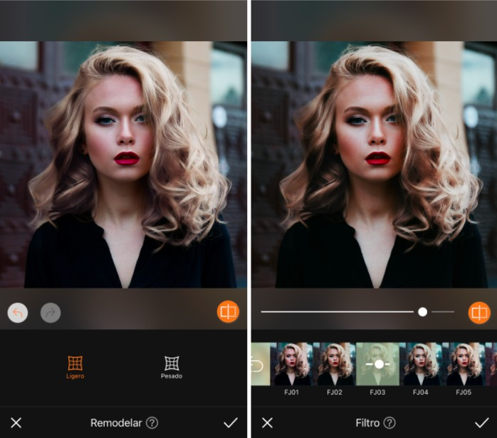 Un antes y un después de una mujer rubia con cabello ondulado, maquillaje y lápiz labial rojo usando la herramienta Filtro de AirBrush.