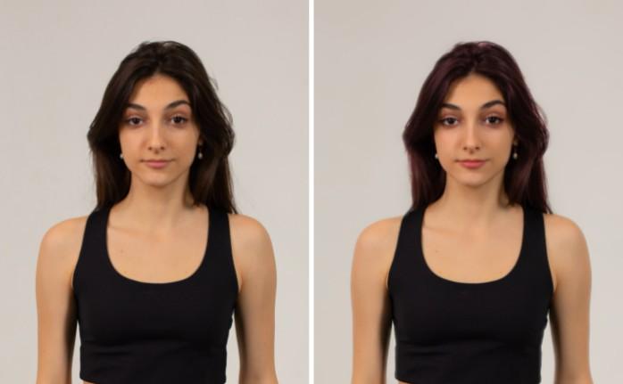 Un antes y un después de una mujer morena con cabello lacio, sin maquillaje usando la herramienta AirBrush Color.