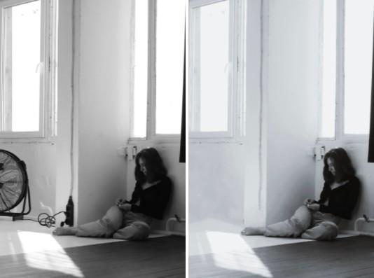 Edición minimalista en blanco y negro