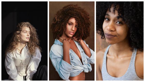 trio de fotos com mulheres com cabelos volumosos cacheados e crespos