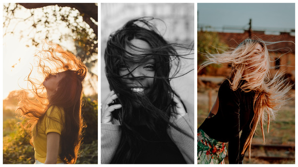trio de fotos com mulheres com cabelos esvoaçantes