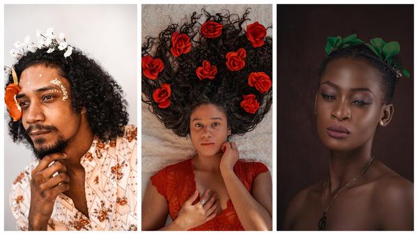 trio de fotos com pessoas com flores e plantas no cabelo