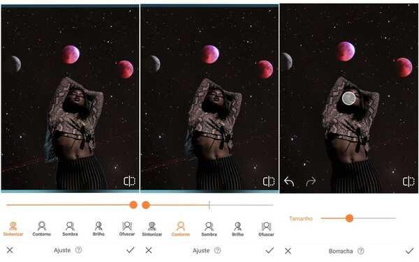 Foto de uma mulher negra de pé com uma galáxia como plano de fundo alterado pelo app AirBrush