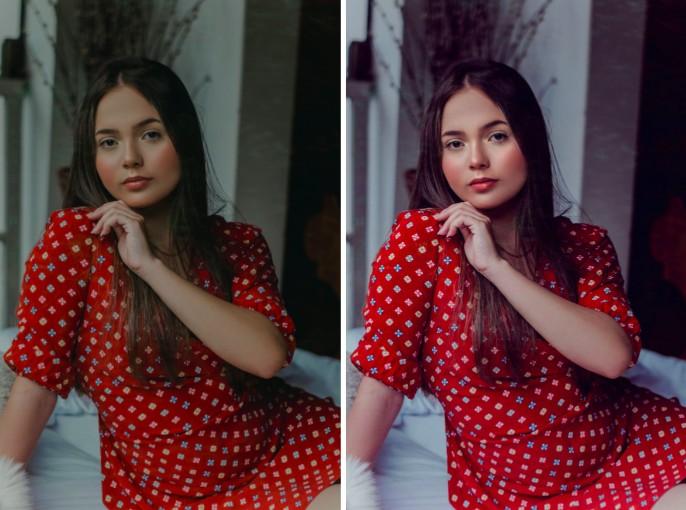 mujer joven con vestido rojo y cabello largo oscuro