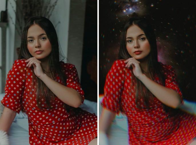 mujer joven con vestido rojo y cabello largo oscuro con fondo de estrellas.