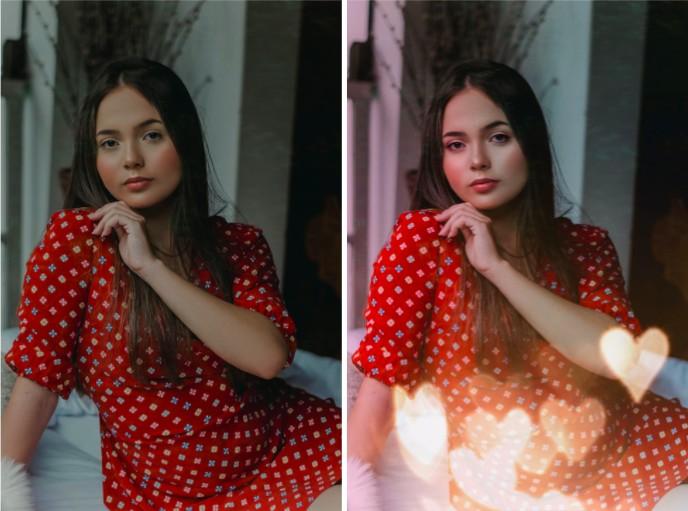 mujer joven con vestido rojo y cabello largo oscuro con filtro de corazones