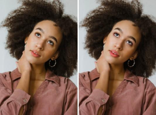 Dos fotos que muestran el antes y después de aplicar maquillaje a una mujer morena de cabello chino