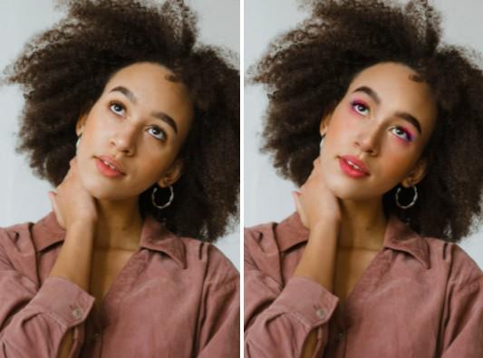 Dos fotos que muestran el antes y después de aplicar maquillaje de arcoíris a una mujer morena de cabello chino