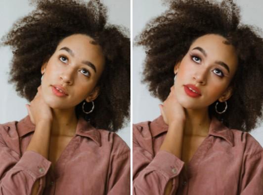 Dos fotos que muestran el antes y después de aplicar maquillaje estilo Drag Queen a una mujer morena de cabello chino