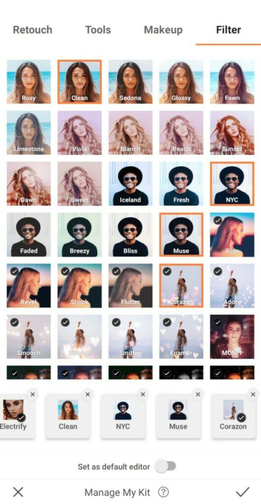 screenshot of AirBrush app Filters