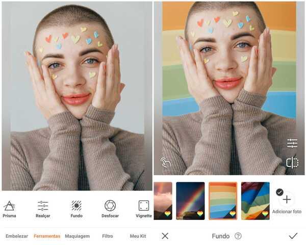 Foto de uma garota de cabeça raspada e com adesivos de corações colados no rosto sendo editada no app AirBrush