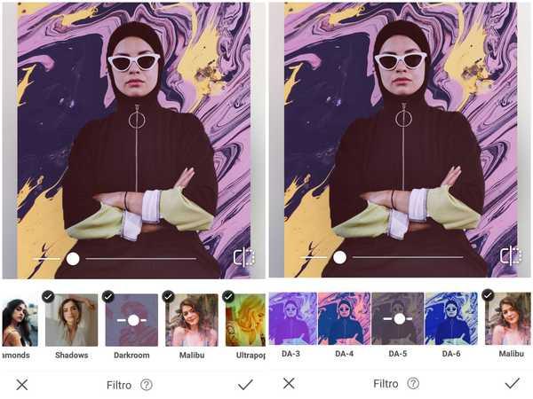 Foto de uma mulher usando hijab preto sendo editada no app AirBrush