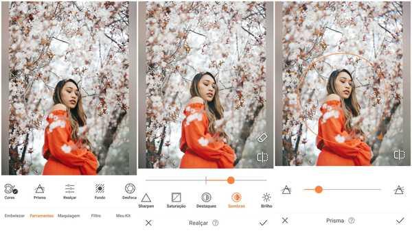 Foto de uma garota asiática de vestido laranja no meio de ramos de flores de cerejeira sendo editada no app AirBrush