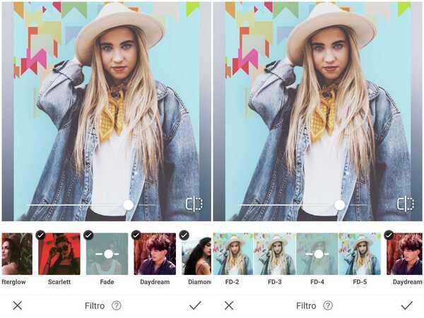 Foto de uma garota usando chapéu de cowboy e jaqueta jeans sendo editada no app AirBrush
