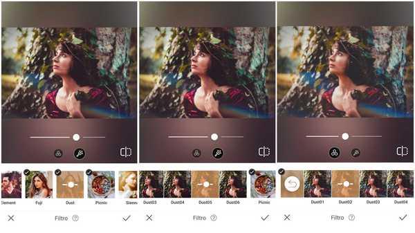 Foto de uma garota de vestido cor borgonha e ramos na cabeça sendo editada no app AirBrush