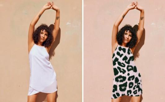 fotos del antes y después de mujer usando vestido blanco corto y vestido de animal print