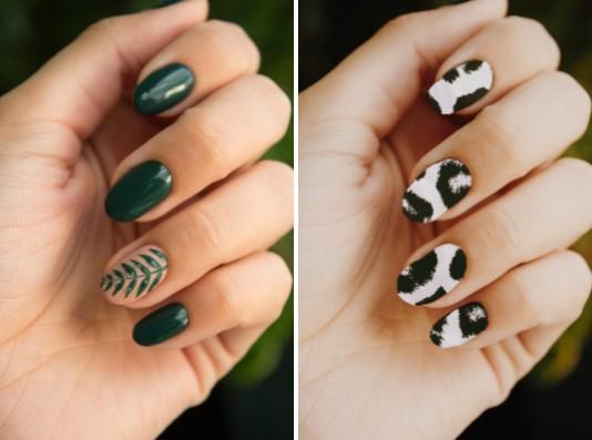 antes y después de uñas verdes y uñas de animal print