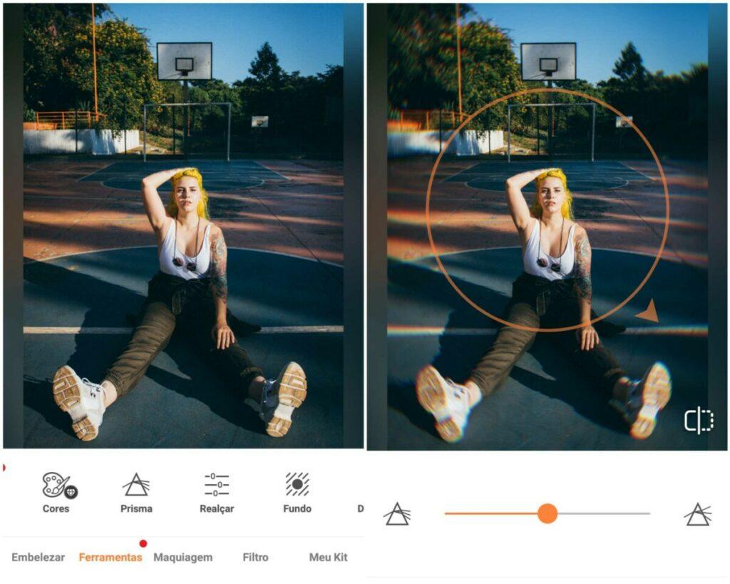 Montagem de duas fotos com a mesma mulher sentada em uma quadra de basquete com a mão no cabelo. Foto 1 sem edição e foto 2 com a edição Prisma do AirBrush