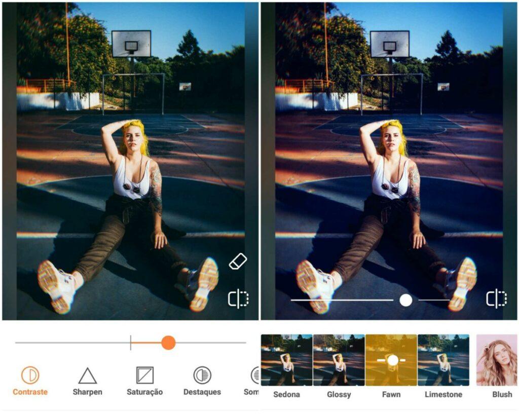 Montagem de duas fotos com a mesma mulher sentada em uma quadra de basquete com a mão no cabelo. Foto 1 aumentando o contraste e foto 2 com a o Filtro Fawn do AirBrush