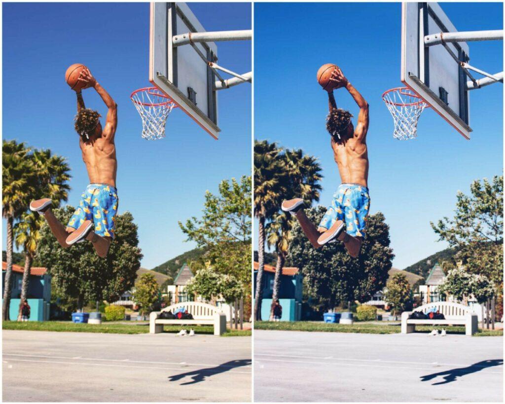 Montagem de duas fotos com o mesmo cara pulando para acertar a bola de basquete na cesta. Foto 1 sem edição e na foto 2 com o filtro NYC do AirBrush