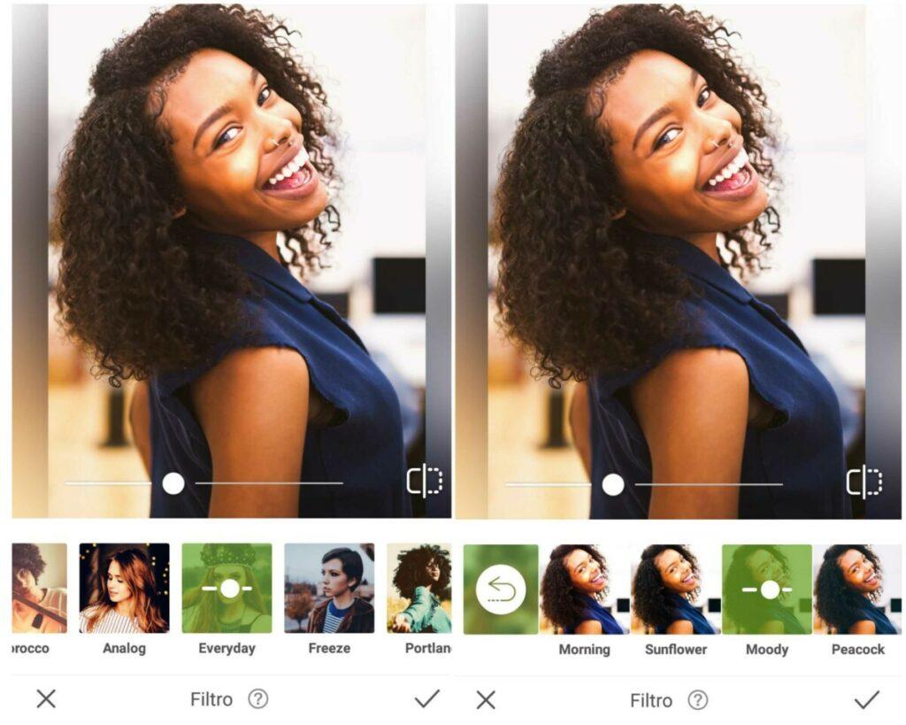 Foto de uma mulher negra de blusa azul sendo editada no app AirBrush