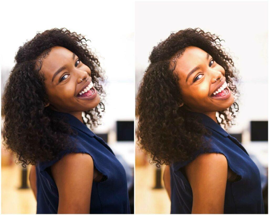 Imagem mostrando o antes e o depois da foto de uma mulher negra de blusa azul após edição no app AirBrush