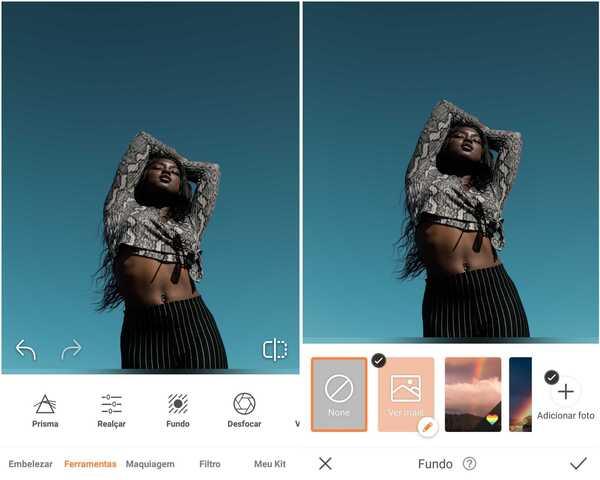 Foto de uma mulher negra de pé em um fundo azul sendo editada no app AirBrush