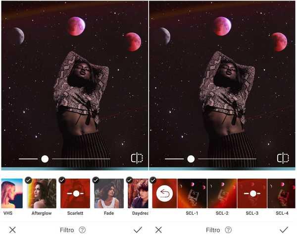 Foto de uma mulher negra de pé com uma galáxia como plano de fundo sendo editado pelo app AirBrush