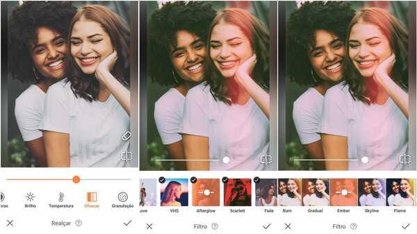 Foto de um casal de mulheres sendo editada no app AirBrush