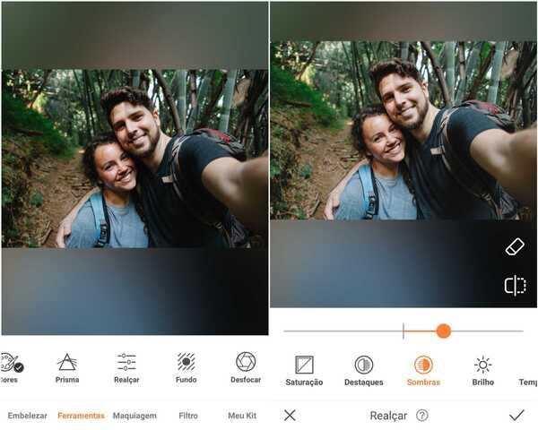 Foto de um casal sendo editada no AirBrush