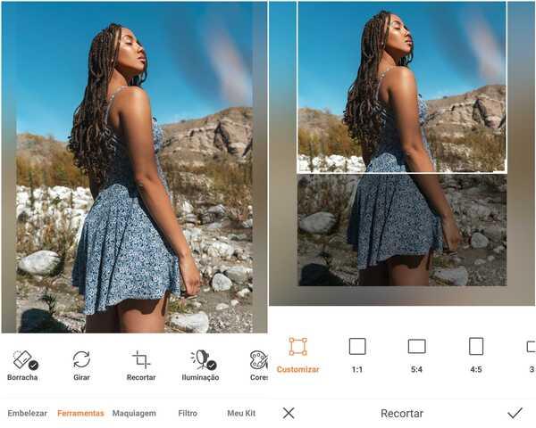 Foto de uma mulher negra usando um vestido florido azul sendo editada no app AirBrush