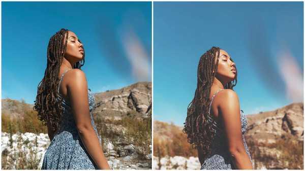 Antes e depois da foto editada no app AirBrush
