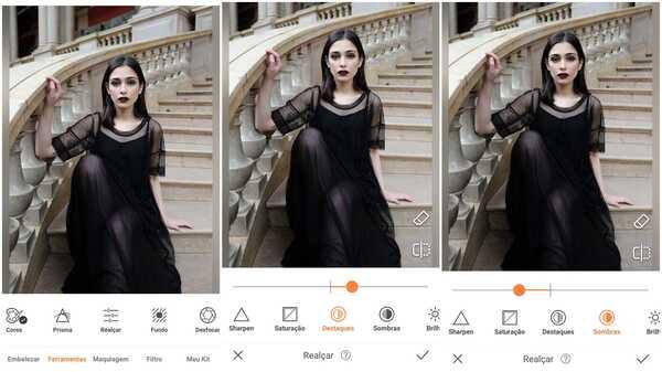 Foto de uma garota de vestido preto sentada numa escadaria sendo editada pelo app AirBrush