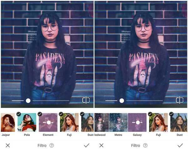 Foto de uma garota usando uma camiseta preta estampada sendo editada pelo app AirBrush